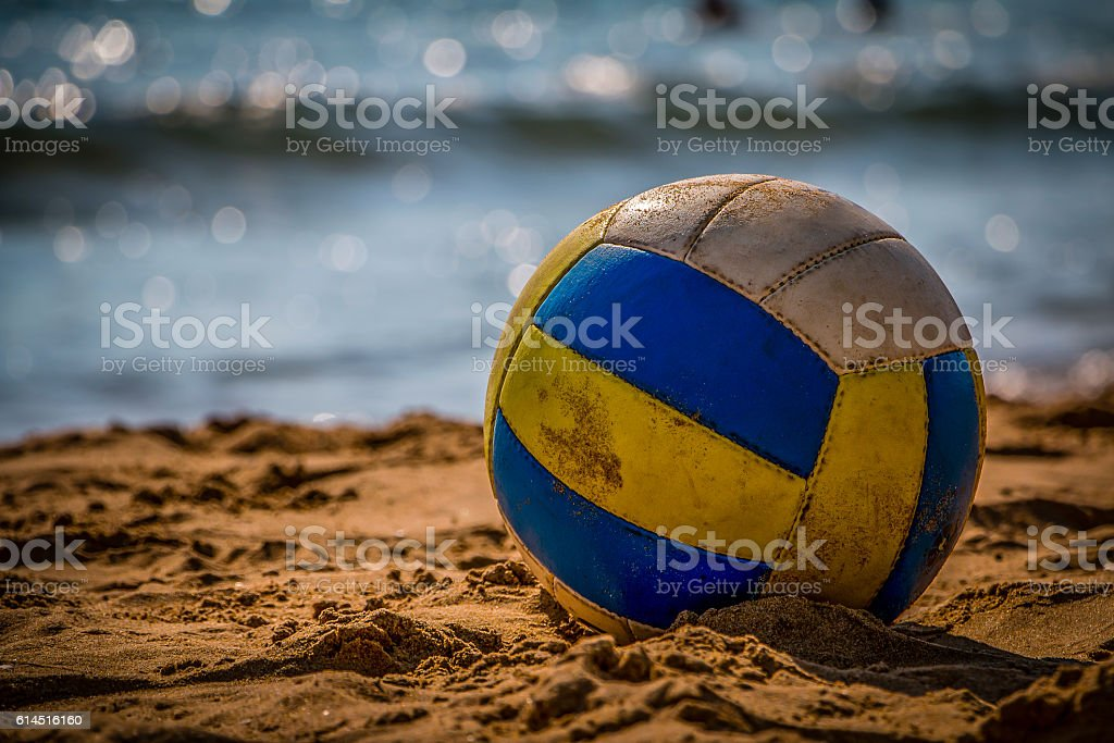 Volleyball on sand stock photo