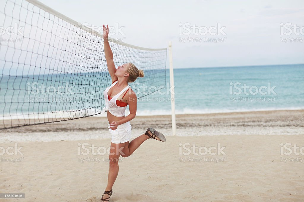 Volleyball on the beach royalty-free stock photo