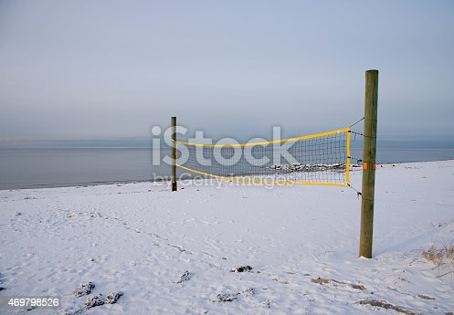 volleyball court on the beach in winter
