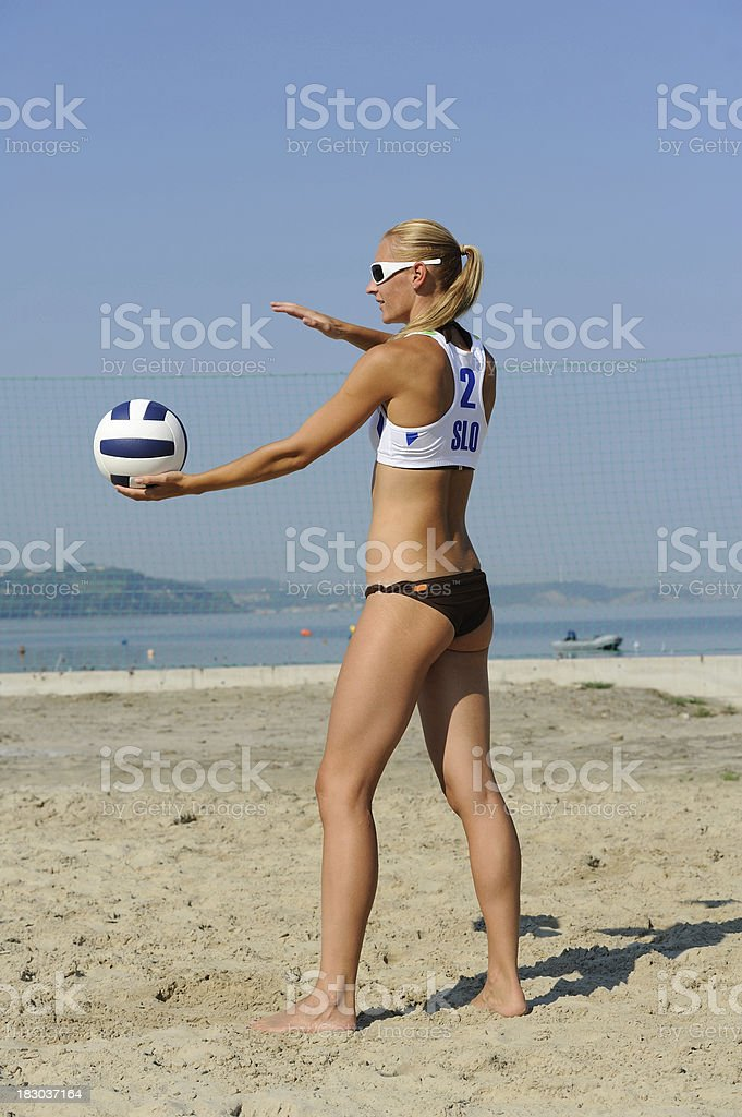 Volleyball player concentrating for the serve royalty-free stock photo