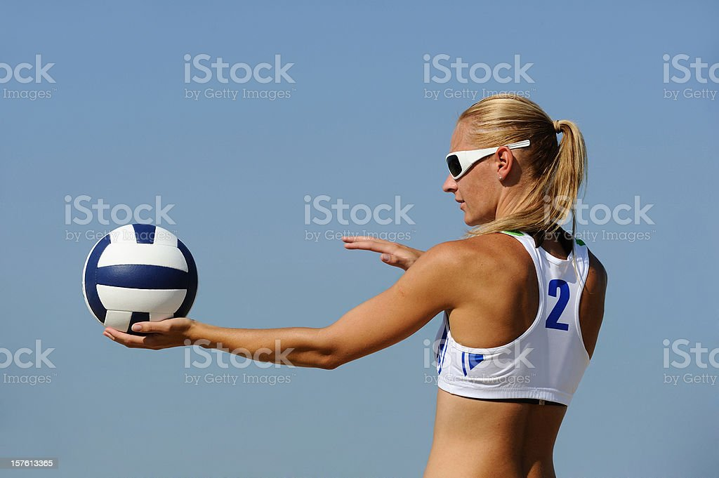 Volleyball player ready to serve royalty-free stock photo