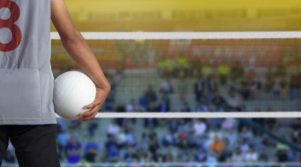 volleyball player with ball on volleyball court - volleyball stock photos and pictures