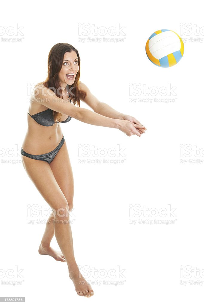 Volleyball player woman in swimwear royalty-free stock photo