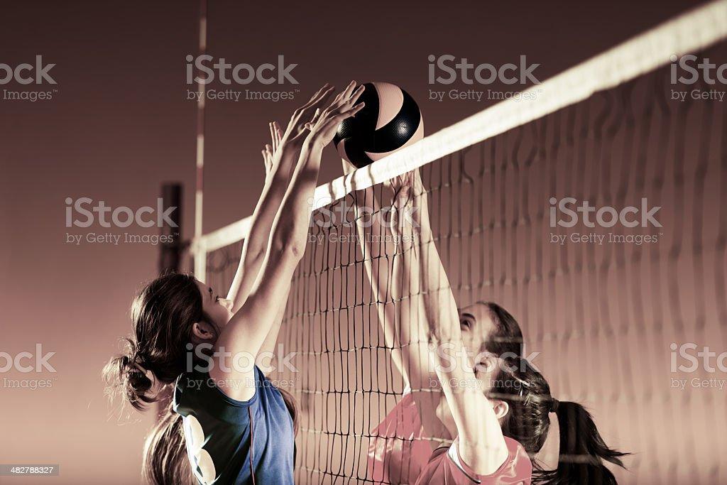 Les joueurs de volley en pleine action. - Photo