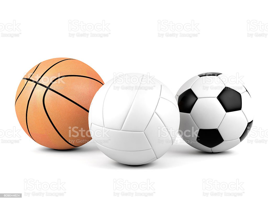 Volleyball, soccer ball, basketball, sport balls isolated on white background – Foto