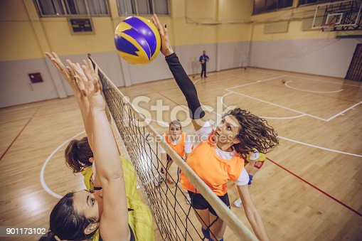 istock Volleyball team in action 901173102