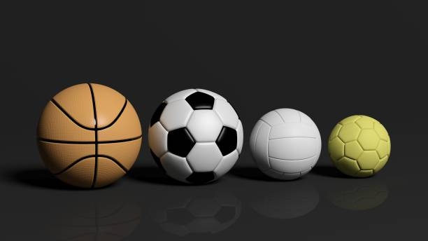 검은 배경에 배구, 농구, 축구, 수구 공 스톡 사진