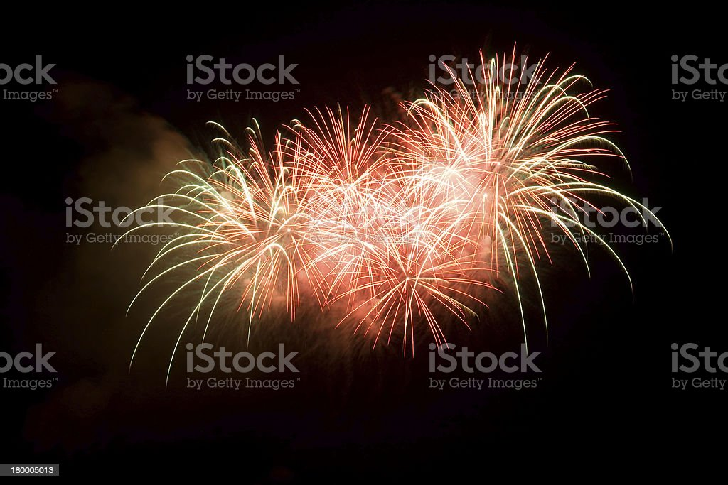 Volleys of fireworks royalty-free stock photo