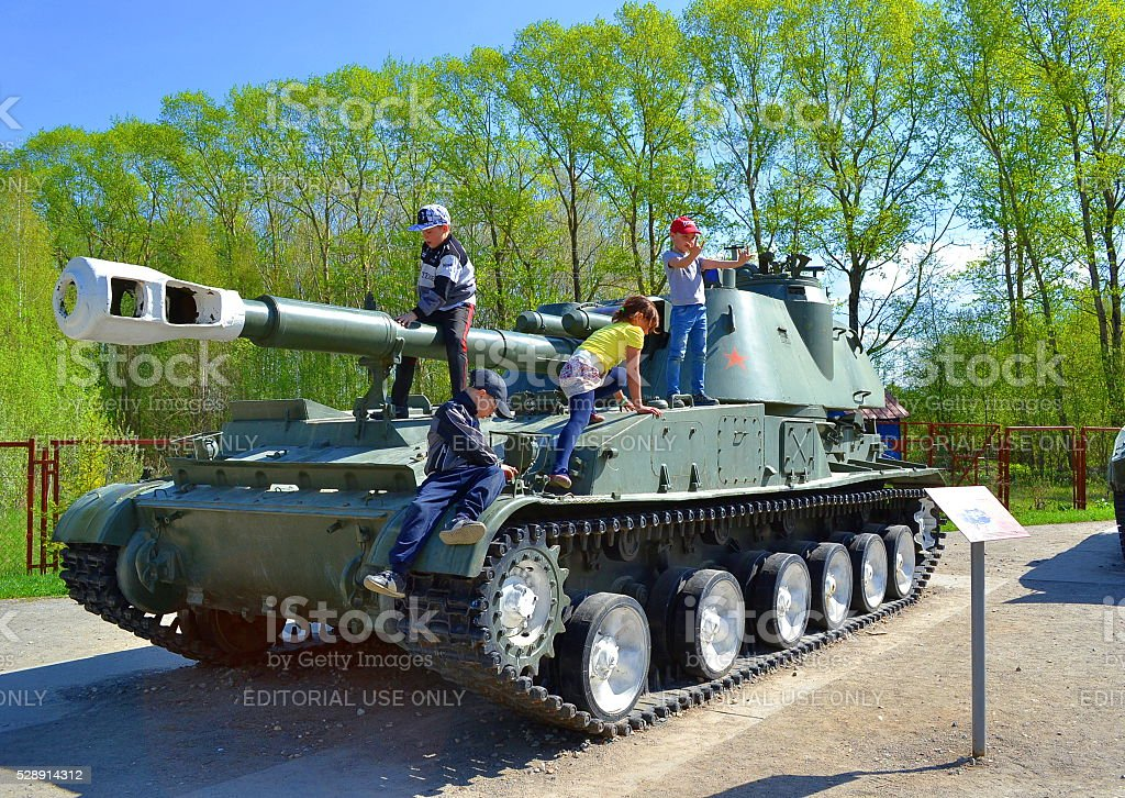 Vologda, Russia, Victory Park, famous place, city, children, military equipment. stock photo