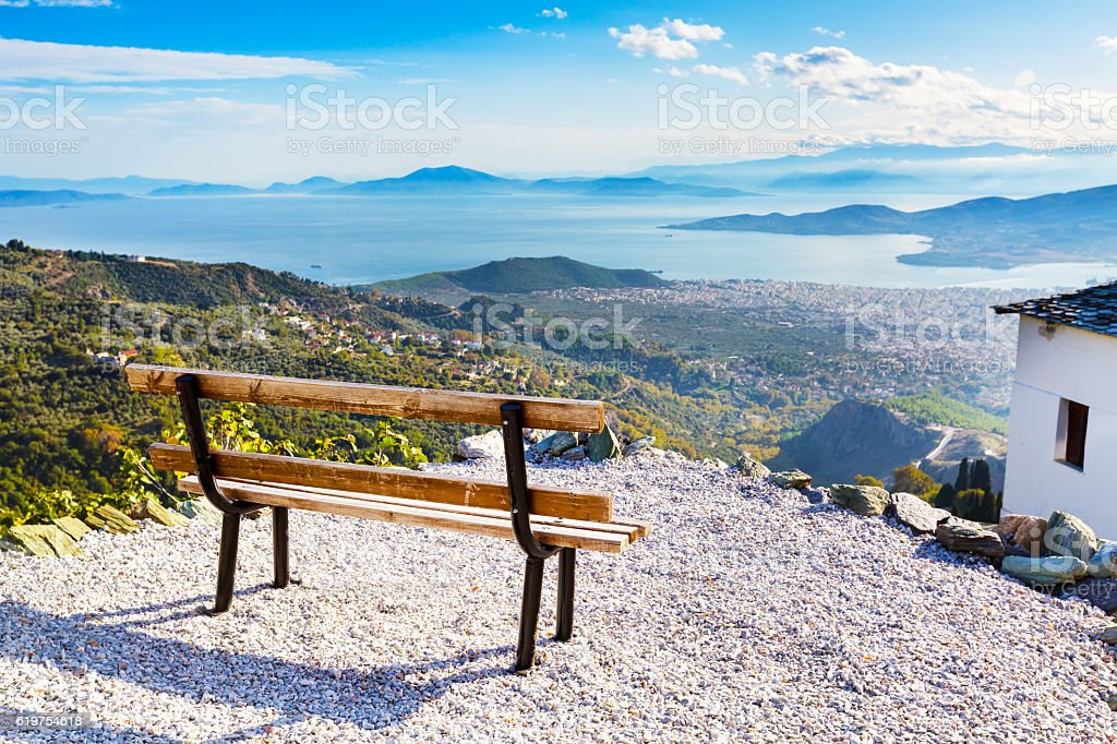 Volos city view from Pelion mount, Greece stock photo