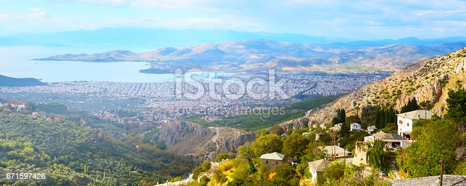 683524718 istock photo Volos city view from Pelion mount, Greece 671597426