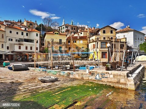 Volosko fishing village near Opatija, Croatia, popular touristic destination.