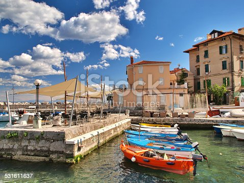Volosko fishing village near Opatija, Croatia, popular touristic destination. HDR photo.