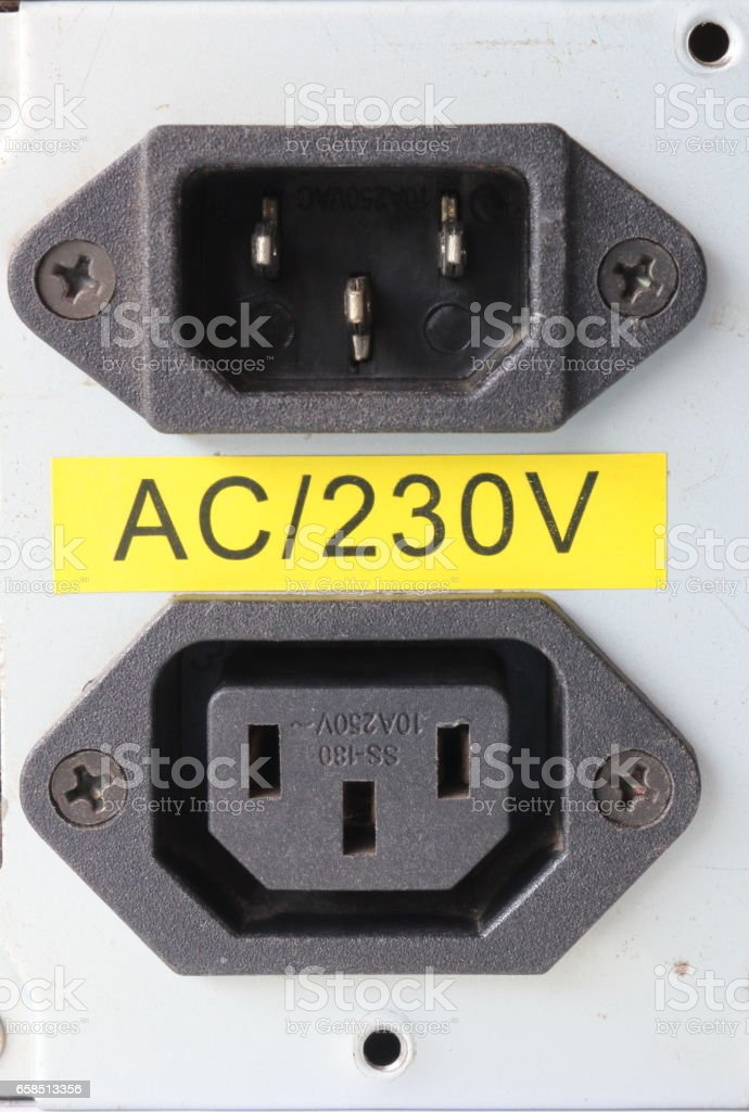 220 volt power inlet and outlet for power supply stock photo