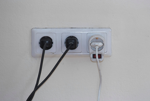 220 Volt power socket and cable, power supply at home and in the office