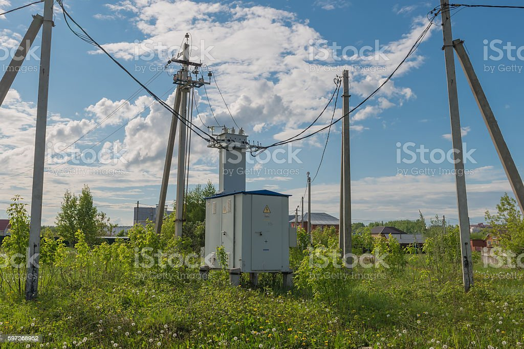 voltage transformer on the street royalty-free stock photo