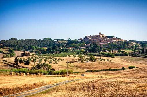 Blick über die Felder auf das Juwel Volterra