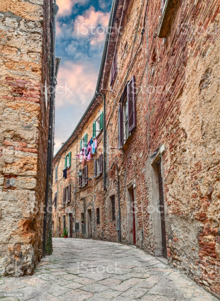 Volterra, Pisa, Tuscany, Italy alley in the old town stock photo