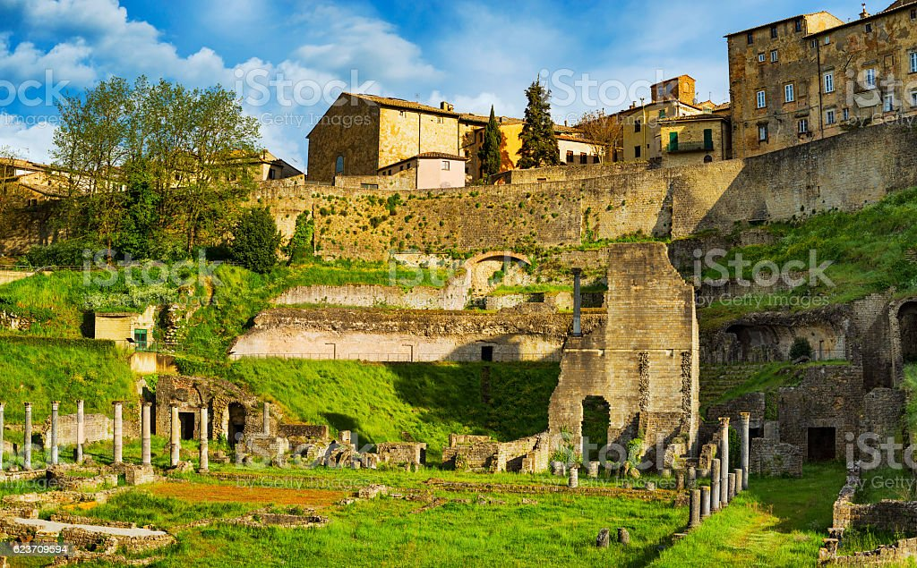 Volterra, roman theatre ruins. Tuscany, Italy. stock photo
