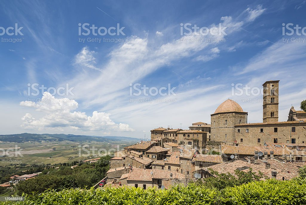 Volterra skyline with Cathedral of Santa Maria Assunta, Tuscany Italy stock photo