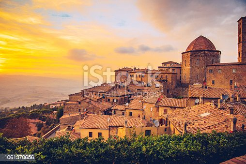 Sunset in Volterra, a mountaintop town in the Tuscany region of Italy.