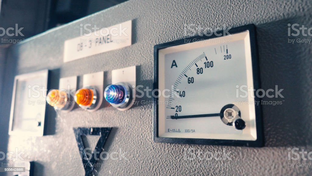 Voltmeter and ammeter electric machine stock photo
