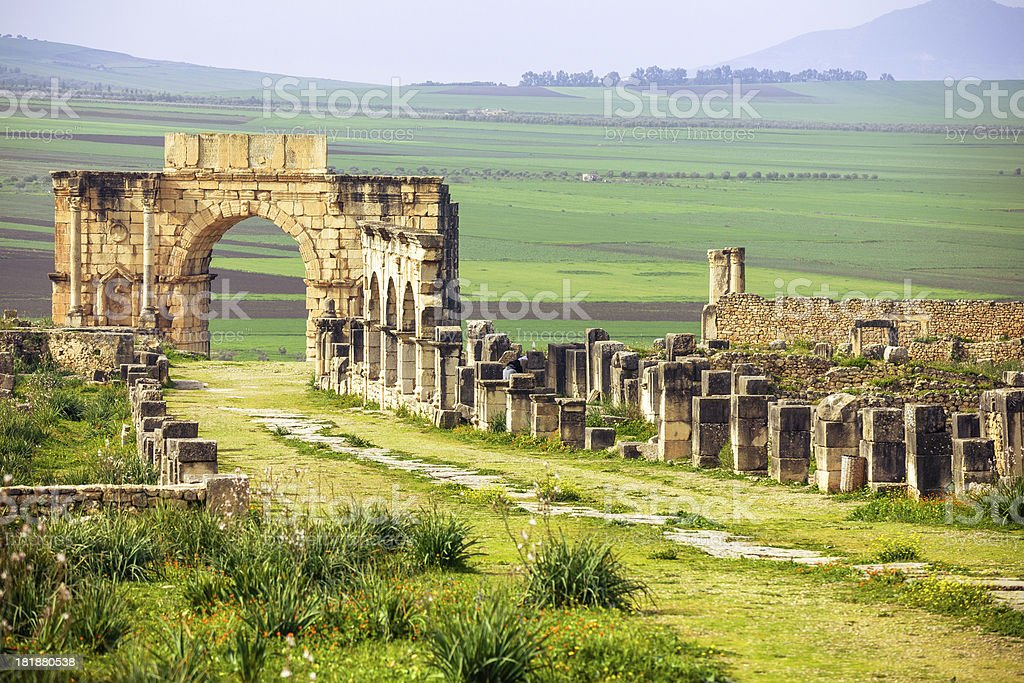 Volubilis Ruins in Morocco stock photo