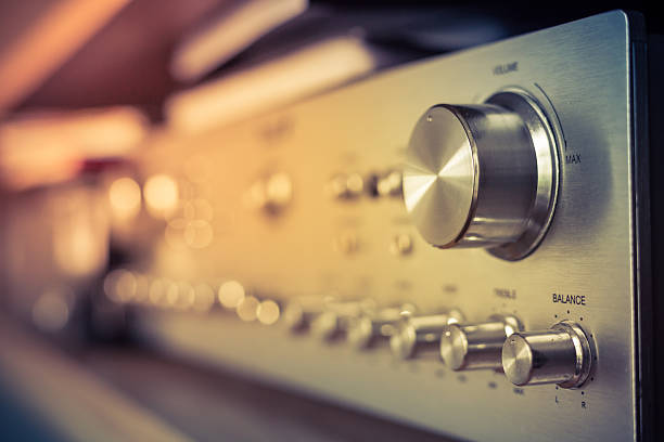 Volume control volume control knob of vintage hi-fi amplifier stereo stock pictures, royalty-free photos & images