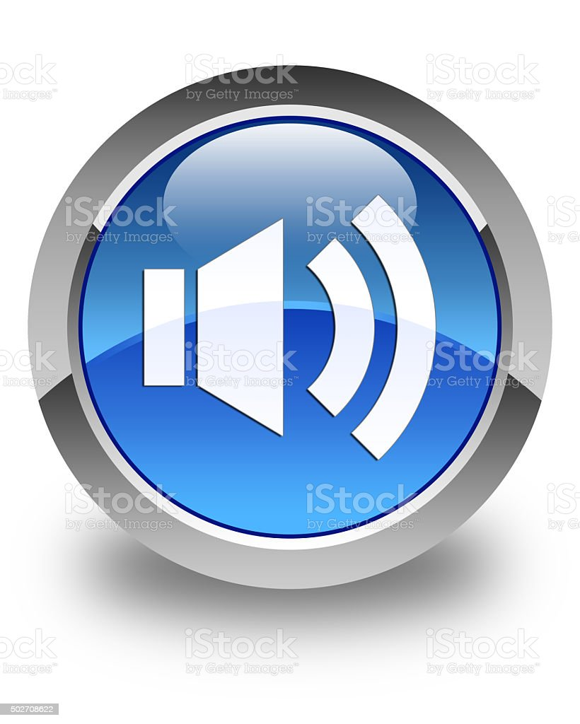Volume icon glossy blue round button 2 stock photo