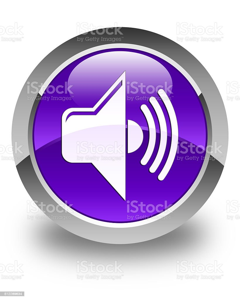 Volume icon glossy purple round button stock photo
