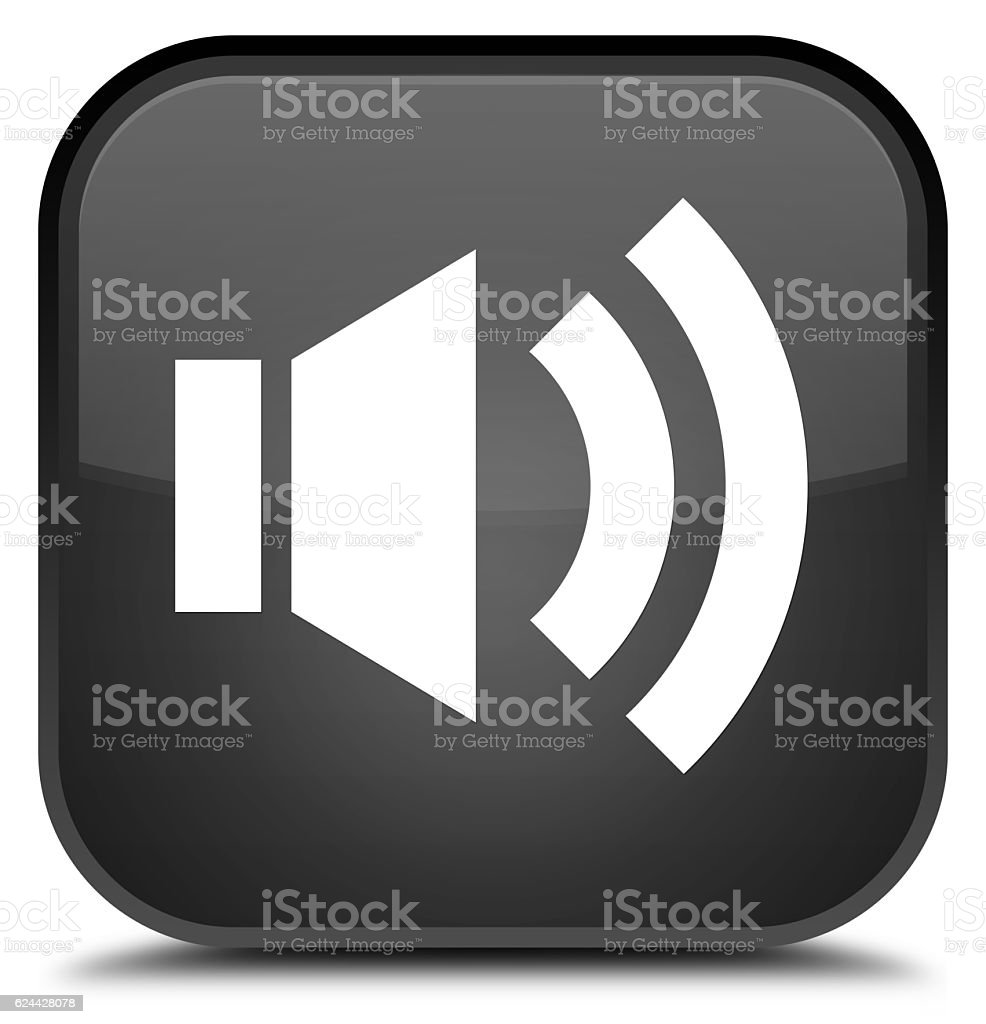 Volume icon special black square button stock photo