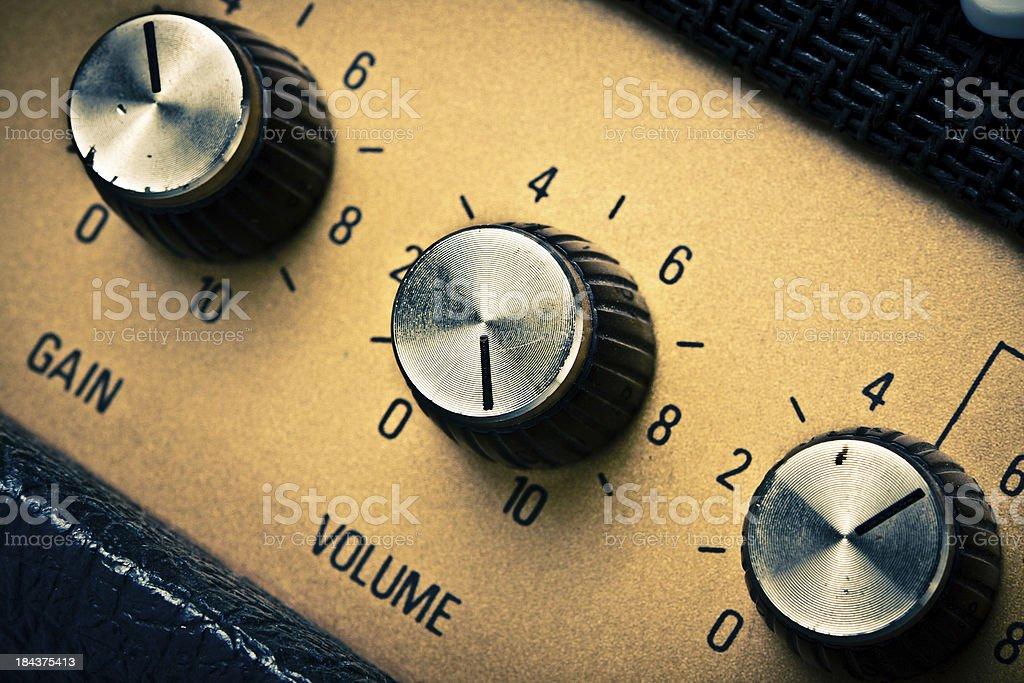 Volume Knob on a Guitar Amplifier, Retro Mood stock photo