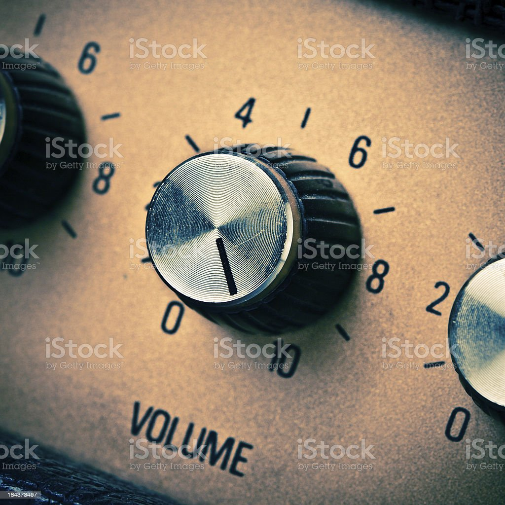Volume Knob to the Max, Guitar Amplifier Retro Mood stock photo