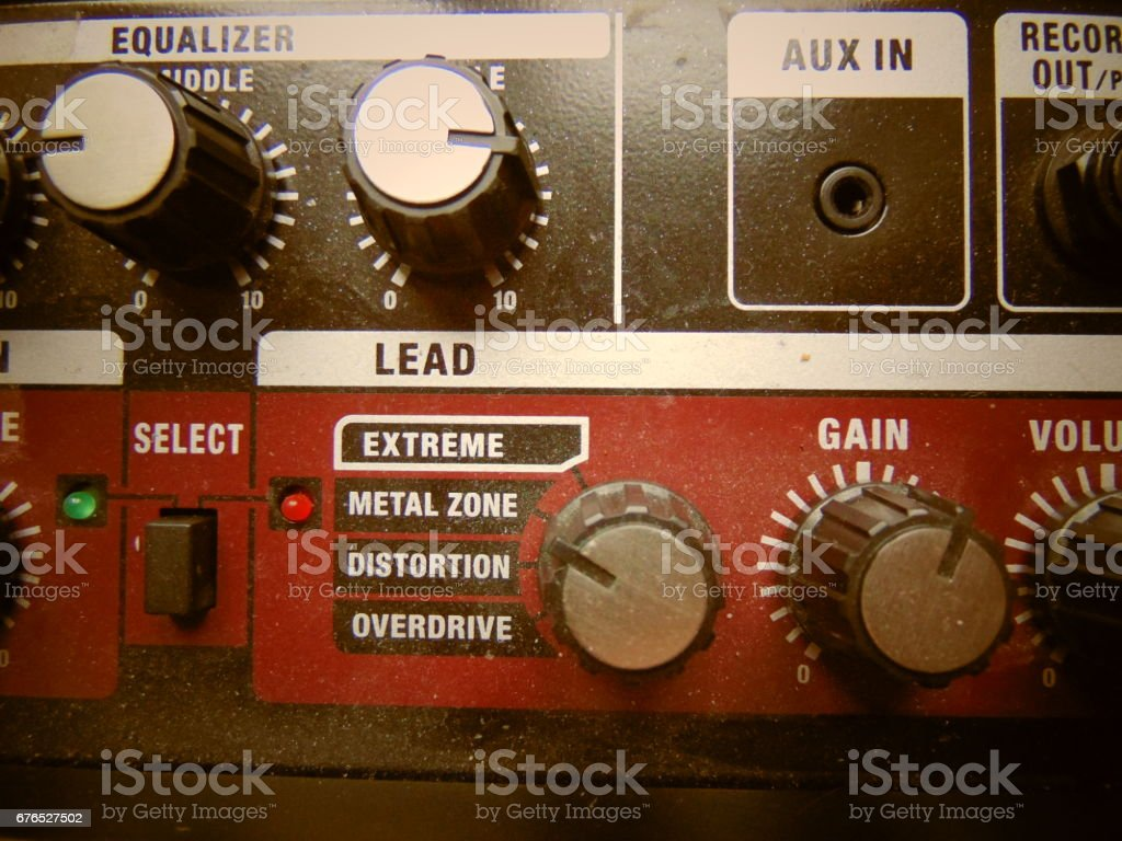 Volume knob with equalizer cool background stock photo