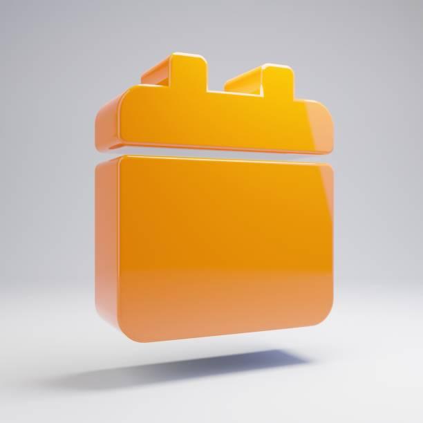 volumetrische glänzende heiße orange kalender-symbol isoliert auf weißem hintergrund. - kalender icon stock-fotos und bilder