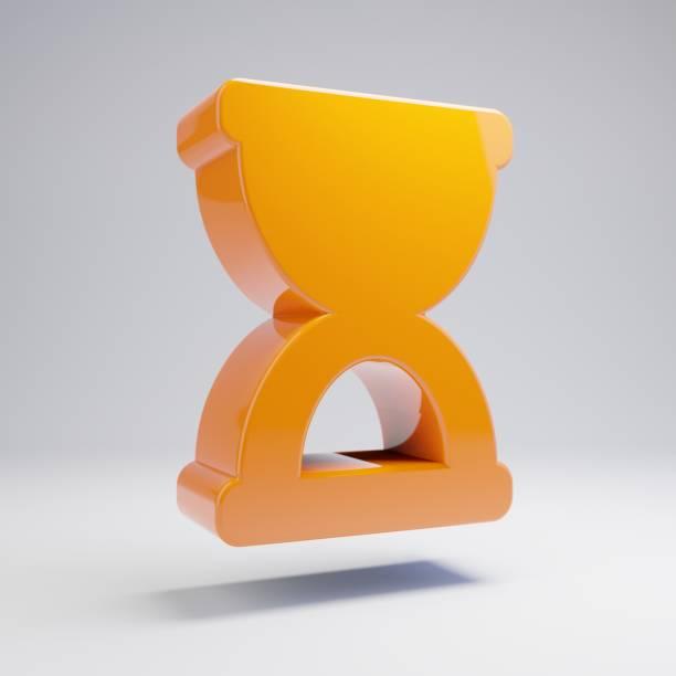 volumetrisch glanzend warm oranje zandloper stop icoon geïsoleerd op witte achtergrond. - zandloper icoon stockfoto's en -beelden