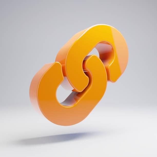 volumetric glossy hot orange link icon isolated on white background. - anello catena foto e immagini stock
