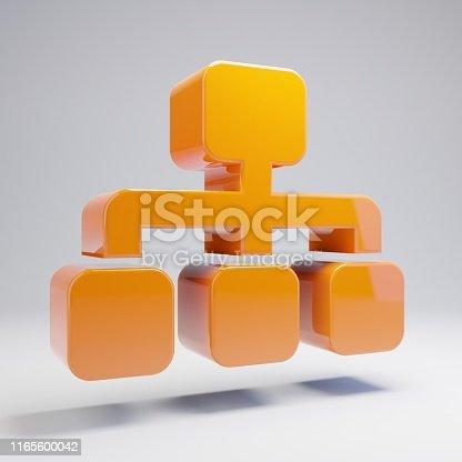 Volumetric glossy hot orange Sitemap icon isolated on white background. 3D rendered digital symbol. Modern icon for website, internet marketing, presentation, logo design template element.