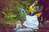 Volunteer in yellow gloves collects plastic garbage