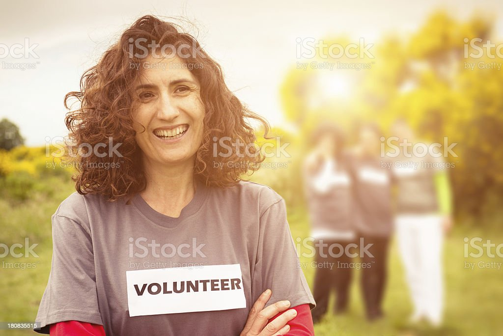 Volunteer outdoors royalty-free stock photo