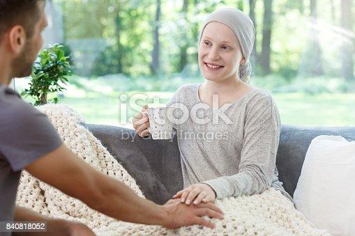 902077950istockphoto Volunteer supporting girl with leukemia 840818052