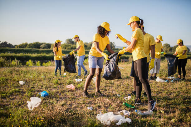 Volunteer together pick up trash in the park Volunteer together pick up trash in the park environmental cleanup stock pictures, royalty-free photos & images