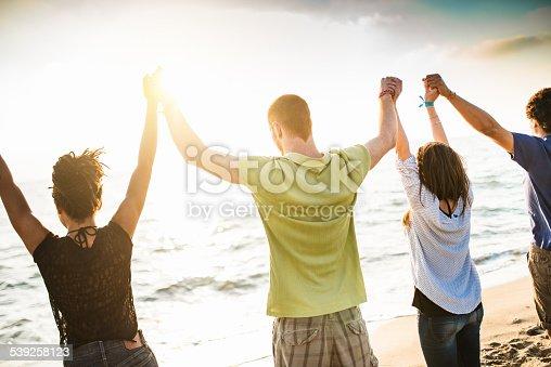 istock volunteer with arm raised at sunset 539258123