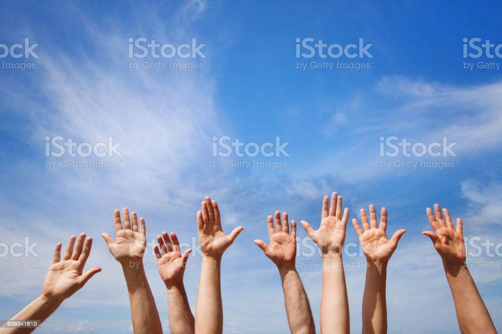 volunteering concept, hands of group of people stock photo