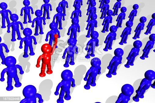 3d illustration of one person raising hand and standing out from the crowd. Model in red is shinier and higher resolution than blues.