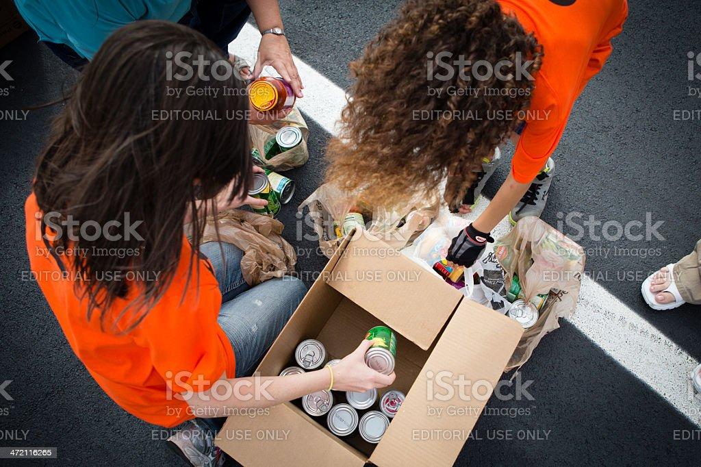 Volunteers at Food Drive stock photo