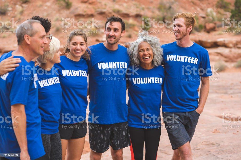 Volunteers at Utah Desert Race stock photo