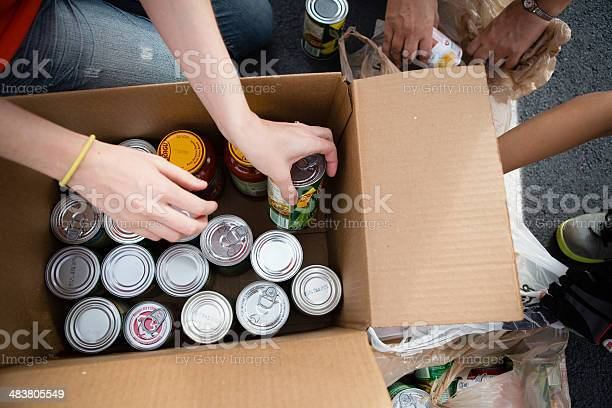 Volunteers Boxing Cans At Food Drive Stock Photo - Download Image Now