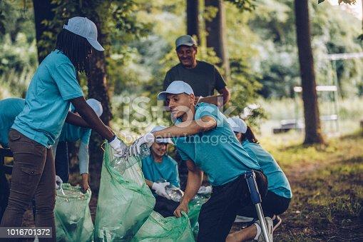 istock Volunteers collecting garbage in park area 1016701372