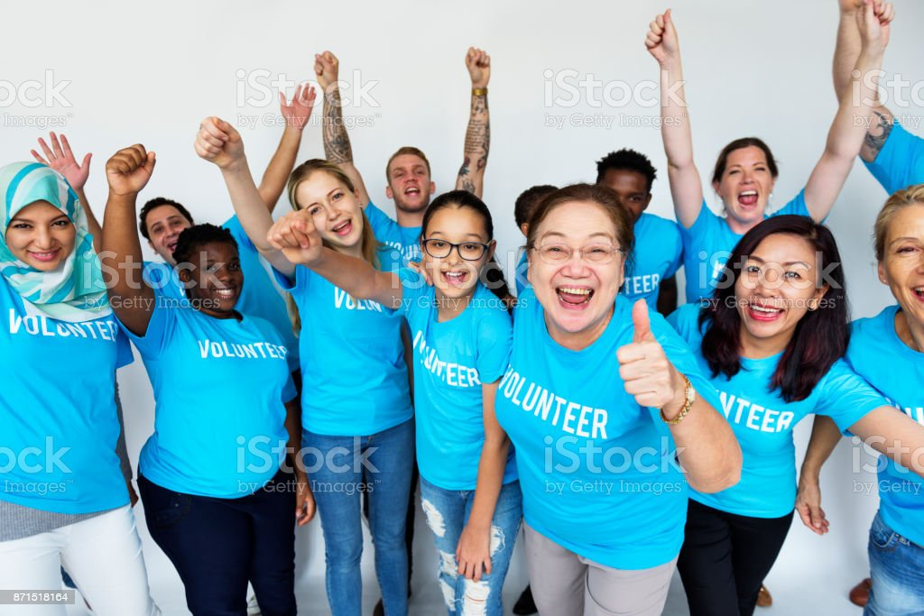 Volunteers helping out for charity stock photo